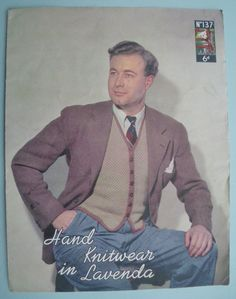 Vintage Knitting Pattern 1940s Mens Waistcoat by sewmuchfrippery. $12.95, via Etsy.