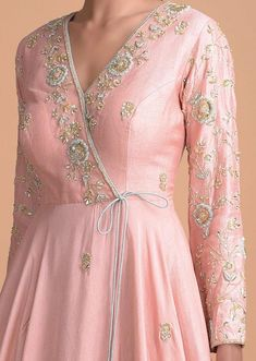 Rose Pink Silk Angrakha Style Suit With Floral Hand Embroidery Online - Kalki Fashion Embroidery Suits Punjabi, Kurti Embroidery Design, Embroidery Fashion, Embroidery Online, Hand Embroidery, Indian Fashion Dresses, Dress Indian Style, Indian Designer Outfits, Dress Fashion
