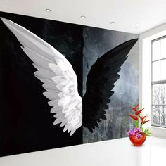 - Mimi Knick - Space Everything Art Wall, Wall Art Painting, Mural Art, Angel Wings Wall Art, Wall Painting, Mural Wallpaper, Custom Murals, Wings Art, Photo Wallpaper