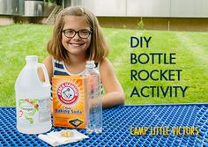Build your own bottle rocket! It's important to give kids lots of hands on experiences, and this DIY activity is also great for piquing their curiosity about science and engineering. Diy Bottle Rocket, Diy Rocket, Science Experiments Kids, Science Fair, Science For Kids, Life Science, Stem Projects, Projects For Kids, Kids Crafts