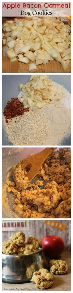 Apple Bacon Oatmeal Dog Cookies. An easy and special treat