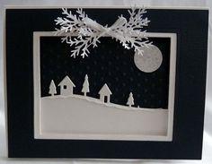 Framed snowy scene (frame popped up with foam)