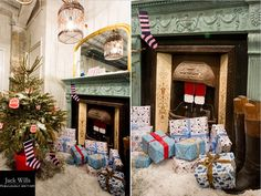 Prop Studios creates Christmas Spirit with Jack Wills | The playful atmosphere carried on throughout the basement with the fireplace depicting Santa coming down the chimney and a Christmas tree placed nearby with presents beneath it.