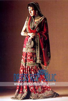 Burgundy Nimbus, Product code: DR2380, by www.dressrepublic.com - Keywords: Designer lehenga, sharara, gharara, farshi lehenga, bridal dresses Pakistani Designer