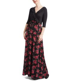 This Black & Red Floral Ruffle Surplice Maxi Dress - Plus by GLAM is perfect! #zulilyfinds