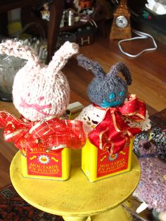 two rabbits cutting the mustard