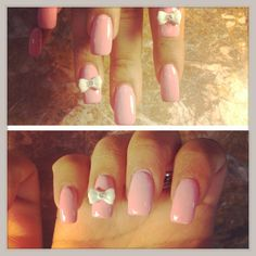 Nails bowtie cute pink