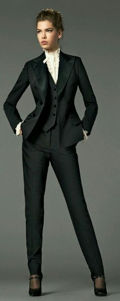 While a tad formal for my office (we are business casual, not business formal), I love the structure/fitted look of this suit. I like the look of a fitted vest over a crisp white button-blouse. Business Fashion, Business Outfit, Office Fashion, Work Fashion, Classic Fashion, Fashion 2020, Gothic Fashion, Fashion Clothes, Street Fashion