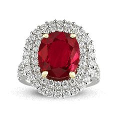 Burma Ruby and Diamond Ring,3.95 Carats