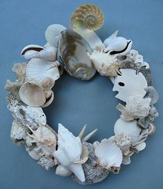 White Shell Wreath SW51 by BeacheryDesigns on Etsy, $125.50