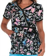 Koi Scrubs Love Song-Black Print Top $24.99