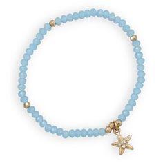 Blue Fashion Stretch Bracelet with Star Fish Charm        Price: $14.95