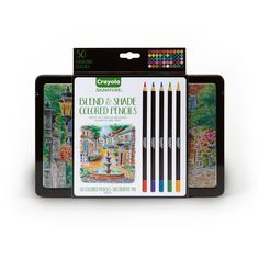 Signature Series from Crayola: 50 Ct. Blend & Shade Colored Pencils in tin   Adult Coloring   Artist Tools   Gifts