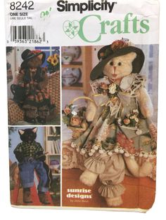 Simplicity 8242 Stuffed Cat Pattern Cat Clothes by UpstairsAttic