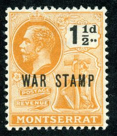 Montserrat War Stamp 1918 Scott MR3 1 1/2p orange & black