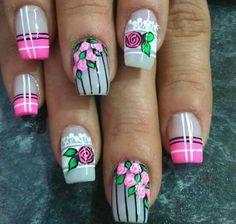 Flower Nail Designs, Toe Nail Designs, Purple And Pink Nails, Natural Acrylic Nails, Super Cute Nails, Cute Nail Art, Birthday Nails, Fabulous Nails, Flower Nails