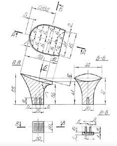 Plastic heel & heel tip technical drawing
