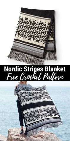 Cozy And Interesting Crochet Blanket Patterns - Unique Crochet afghan crochet patterns projects Crochet Afghans, Striped Crochet Blanket, Easy Crochet Blanket, Afghan Crochet Patterns, Crochet Stitches, Doilies Crochet, Crocheted Blankets, Crocheting Patterns, Afghan Blanket
