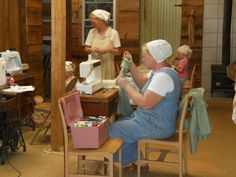 Amish women sewing~ Sarah's Country Kitchen ~