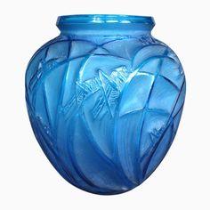 Antique Blue Glass Vase from Lalique, 1910s