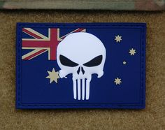 3D PVC Australian Punisher Flag Patch SASR SOTG Task Force 66 2 Cdo Tarin Kowt.