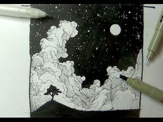 Pen & Ink Drawing Tutorials | How to draw a night sky landscape with moon, stars & clouds - YouTube