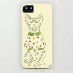 Sphinx cat with nice dress, illustration iPhone & iPod Case by vumap - $35.00