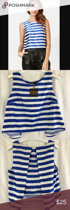 Pure sugar striped crop top sz M NWT! Adorable crop top perfect for Spring with flutter back detail. pure sugar Tops Crop Tops