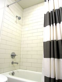 4x8 versus 4x12 subway tile - Google Search Bathroom Kids, Master Bathroom, Bathroom Tiling, Design Bathroom, White Tiles Grey Grout, Shower Grout, Tile Layout, Shower Curtain Rods, Upstairs Bathrooms