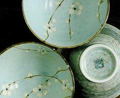 Light blue cherry blossom rice bowls