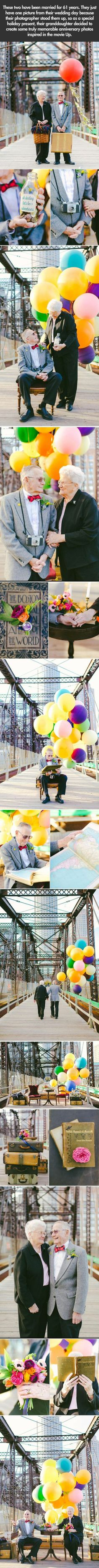 This couple only had one photo from their wedding day and they got the cutest pictures for their 60th anniversary!