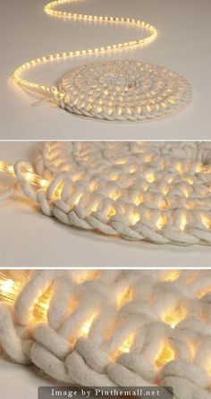 Crochet around a rope light to create a light-up rug. Good for; Christmas tree skirt, seasonal decoration or just because it's really neat. No instructions in the link, just follow a pattern for basic flat spiral and stitch around the rope light.::