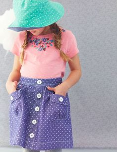 Spotty Chambray Skirt in the pink or minty green Sewing Kids Clothes, Sewing For Kids, Baby Sewing, Kids Outfits, Summer Outfits, Summer Clothes, Chambray Skirt, Mini Boden, Our Girl