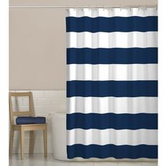 Powder room in need of a pick-me-up? A pop of pattern should do the trick! Give that spa-worthy space a splash of style with this stunning striped shower curtain. Crafted of 100% polyester fabric, it features a canvas-inspired construction for a hint of nautical flair. While its two neutral tones may seem simplistic, this design is anything but with its bold stripe motif. Whether water leaves the tub or you just think this pleasant piece could use a refresh, you're in luck - it's also...