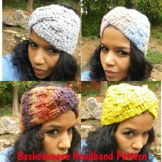 Crochet Headband & Matching Cowl. Both created with Basketweave Stitch & twist.