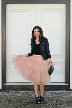 Pink Tutu Ballerina Tulle Skirt, Black Leather Jacket, Chanel Half-Moon Wallet On a Chain, Black Booties, Bauble Bar Pinata Tassel Earrings in Pink