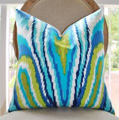 Trina Turk Designer Pillow Cover  Blue Aqua Cobalt by MotifPillows, $52.00