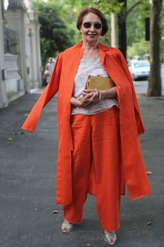 Orange is so happy! Also, I love wide leg pants.