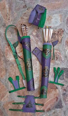 Archery Leather Set Of A Hand Tooled Quiver, A Detachable Pouch, An Arm Guard And A Shooting Glove Archery Set, Archery Targets, Archery Hunting, Archery Quiver, Deer Hunting, Leather Quiver, Leather Pouch, Archery Accessories, Camping Accessories