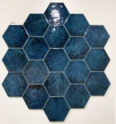 Hexagon Tiles, Upstairs Bathrooms, Bathroom Interior Design, Wall Tiles, New Homes, Pottery, Gallery, Cover, Blue