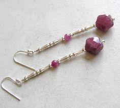 Genuine Ruby Sterling Silver Earrings Shooting Stars by Foret #jewelryonetsy #jetteam