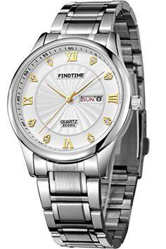 Findtime Herren Silber Luxus Outdoor Kalender Edelstahlarmband Quarz Marken Uhren - http://uhr.haus/findtime/findtime-herren-luxus-outdoor-kalender-quarz-3