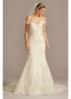 Six different types of hand-crafted lace appliques and beads take this off-the-shoulder mermaid wedding dress to the next level. The sheer corset back and train add the perfect touch of Boho Wedding Dress With Sleeves, Mermaid Trumpet Wedding Dresses, Crepe Wedding Dress, Wedding Dresses Plus Size, Mermaid Dresses, Wedding Dress Styles, Bridal Dresses, Wedding Gowns, Dress Lace