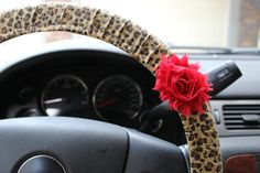 Leopard Print Steering Wheel Cover Cheetah Animal print with Shabby Chic Red Rose