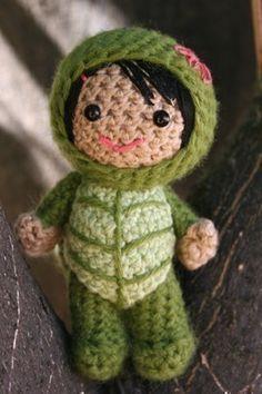 Crochet Pattern- Lucy in a turtle costume amigurumi doll. $5.00, via Etsy.