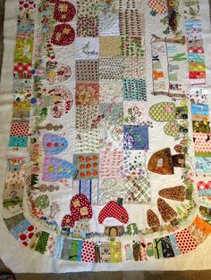 gnome mushroom house village table runner   Flickr - Photo Sharing!  So much detail in is table runner!