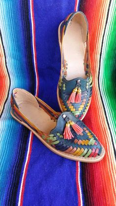 Blue Mexican Huaraches For Women, Colorful Huarache Sandals, Leather Huarache Sandals Size 8 by artesanoslaraza on Etsy