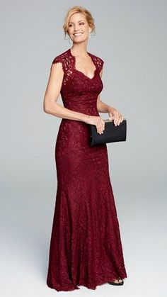 Burgundy lace gown for the Mother-of-the-Bride