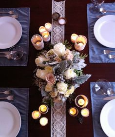 White - Blue - Lace - Winter Wedding Table Setting and Winter Wedding Center Pieces