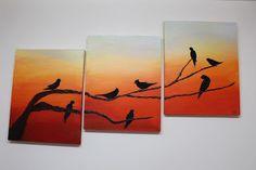 "Magui Artisanat: Tableau Triptyque ""Shadow Bird 2"""